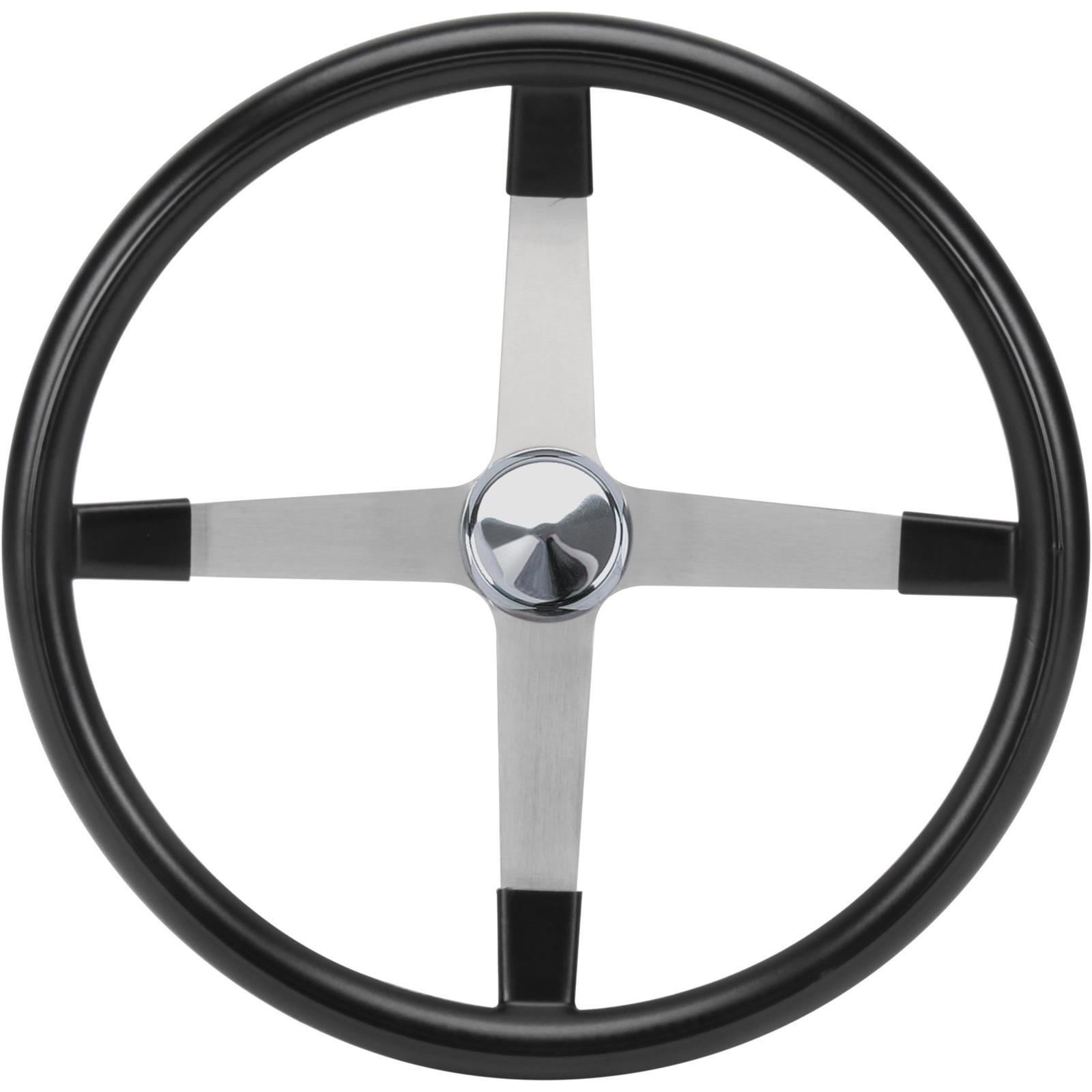 "16/"" Stainless w// Wood Grain Steering Wheel Kit w//Horn Button /& GM Adapter"