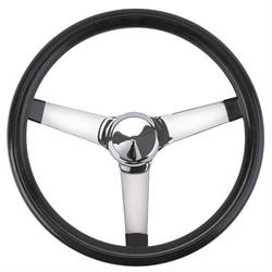 Speedway Classic Solid Spoke 13 Inch Black Steering Wheel - No Holes