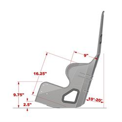 Kirkey Aluminum Racing Seat 38170 17 inch 10 to 20 Degree Layback