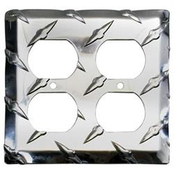 Diamond Plate Dual Outlet Cover Plates