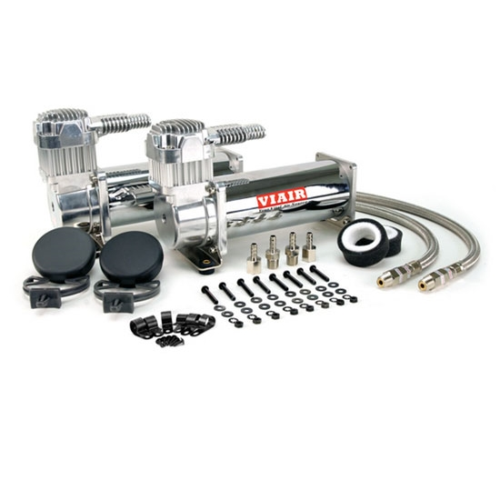 Viair 44432 Dual Air Suspension Compressor Kit, 444C, Chrome