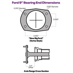 PEM Racing 9 Inch Ford Cut-to-Fit Axle w/ Bearing, Big Ford/New Style