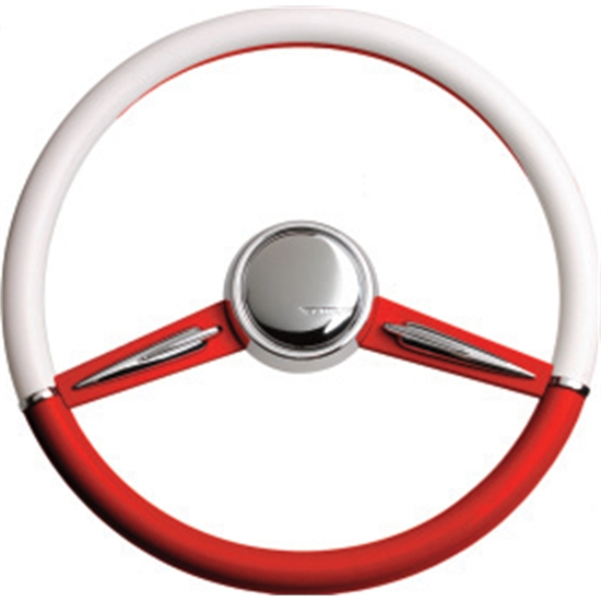 CON2R SW2SPOKE-RED Two-Tone Twin Spoke Steering Wheel, Red and White