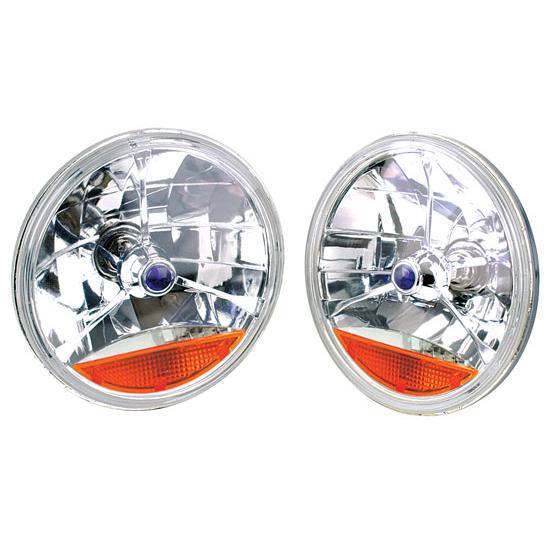 Speedway Tri-Bar Replacement Headlights w/ Amber Turn Signal Lens