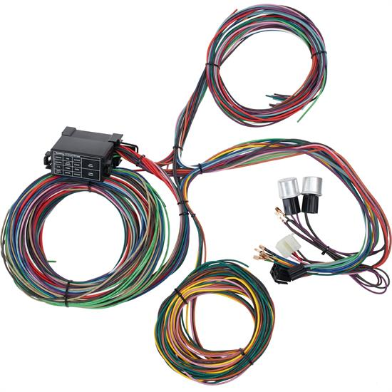 speedway motors universal 12 circuit mini fuse wiring harness Ford Trailer Wiring Harness Diagram universal fit, 12 number of circuits, fuse block included, compatible with gm column
