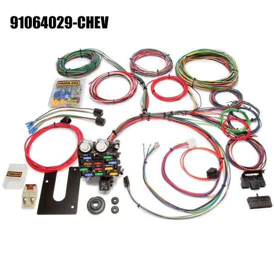 painless wiring 21 circuit wiring harness  universal fit, 21 number of  circuits, fuse block included, compatible with gm column