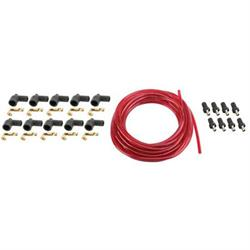 7mm Spark Plug Wires, Solid Core, Red, Straight Rajah Ends