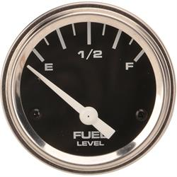 Speedway Fuel Level Gauge with Sender, 2-1/16 Inch, Black