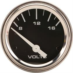Speedway Electric Voltmeter Gauge, 2-1/16 Inch, Black