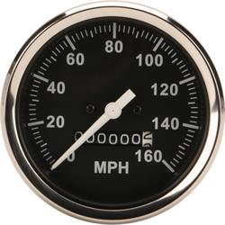 Speedway Speedometer Gauge, Black Face, 3-3/8, Mechanical