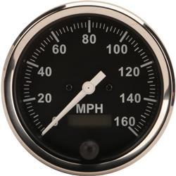 Speedway Speedometer Gauge, Black Face, 3-3/8, Electric