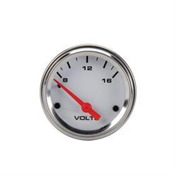 Speedway Electric Voltmeter Gauge, 2-1/16 Inch, White