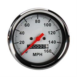 Speedway Speedometer Gauge, White Face, 3-3/8, Mechanical
