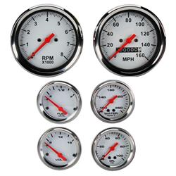 Speedway 6-Gauge Set, White Face, 3-3/8, Mechanical
