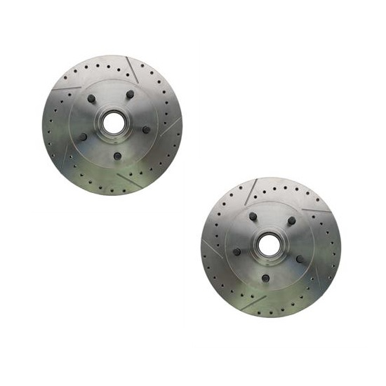 69-72 GM Drilled and Slotted Brake Rotors, 11 In., 5 on 4 3/4 BP