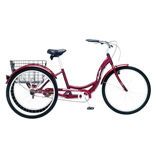 Schwinn Adult Meridian Cruiser Bike, 26 Inch Trike, 1 Speed, Dark ...
