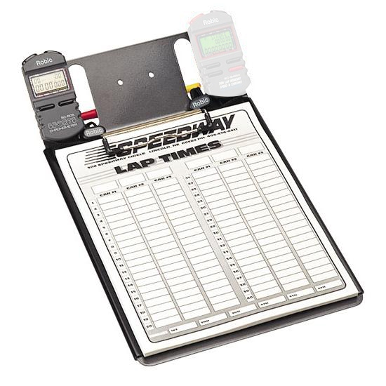 Clipboard with One Robic SC-505 Stopwatch and Lap Sheets
