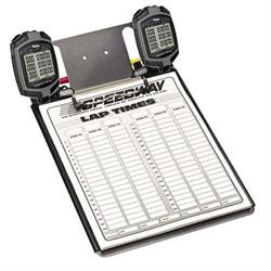 Clipboard with Two Robic SC889 Stopwatches and Lap Sheets