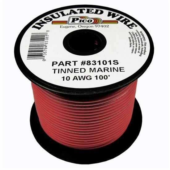 10 Gauge Tinned Marine Primary Wire Red 100 Foot Reel
