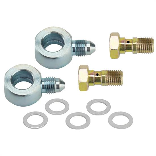 "Speedway 7/16""-24 to -3 AN Banjo Bolt and Fitting Kit"