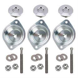 Mini Quik Latch Kit with Mounting Cup, Brushed Aluminum, 3-Pack