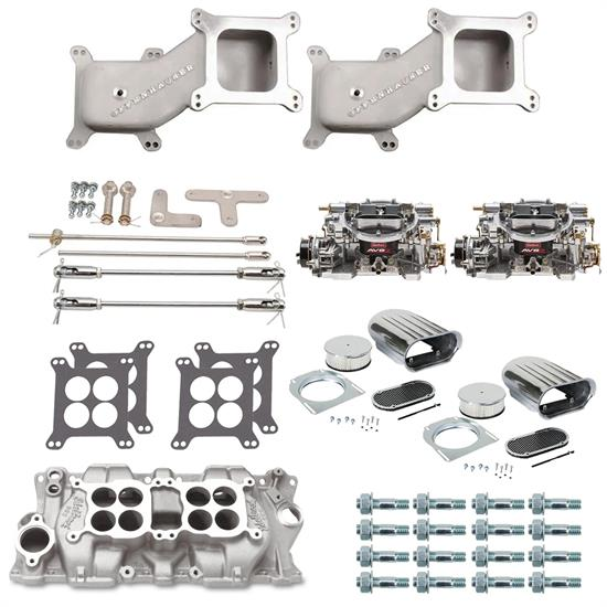 SBC Dual Quad Cross Ram Adapter Kit with Carburetors and Manifold