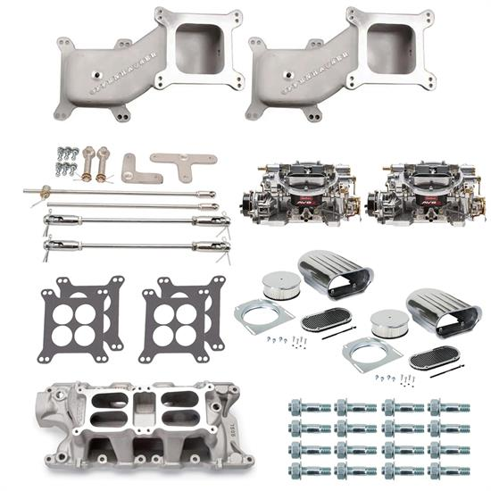 SBF Dual Quad Cross Ram Adapter Kit with Carburetors and Manifold