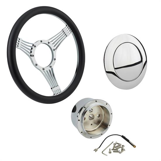 Chrome Banjo Steering Wheel with Wheel Adapter and Horn Button