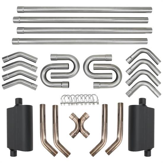 diy universal dual exhaust system kit w x pipe mufflers 2 1 2