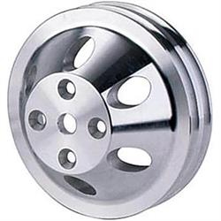 SBC Aluminum Pulley Set, 2-Groove Upper/3-Groove Lower, Long Pump