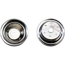 SBC Chrome Pulley Set, 1-Groove Upper/2-Groove Lower, Long Pump
