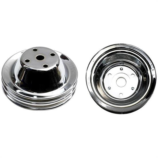 SBC Chrome Pulley Set, 2-Groove Upper/3-Groove Lower, Long Pump