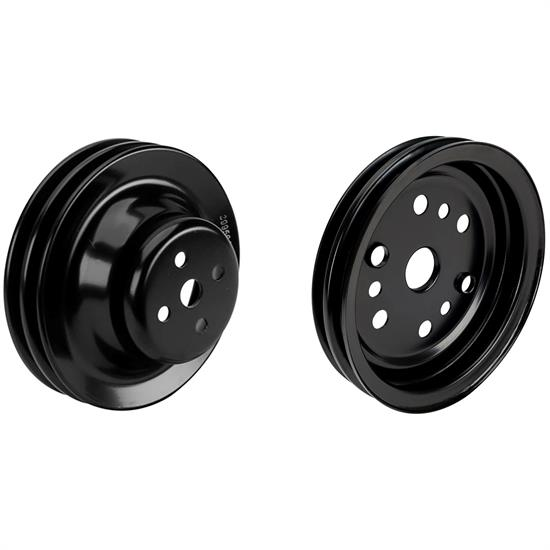 Small Block Chevy Black Double-Groove Pulley Set, Short Pump