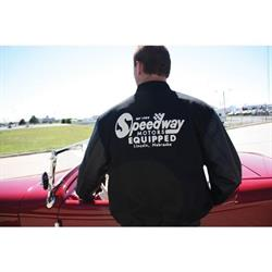 Speedway Motors Letterman Varsity Jacket, Black Size Small