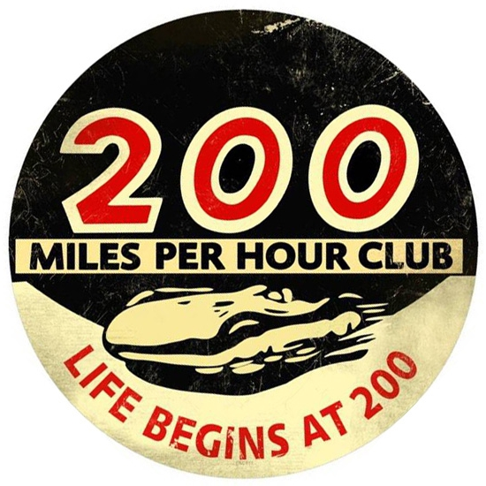 200 MPH Club Vintage Tin Sign