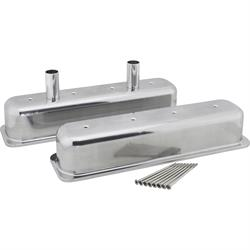 S/B Chevy Tall Aluminum Centerbolt Valve Covers w/Bolts, Polished