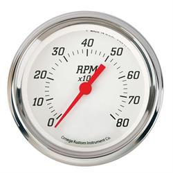 Omega Kustom 8000 RPM Tachometer Gauge, 3-3/8, Kool White