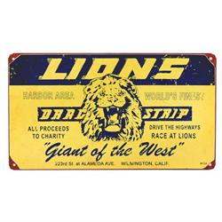 Lions Drag Strip Vintage Tin Sign