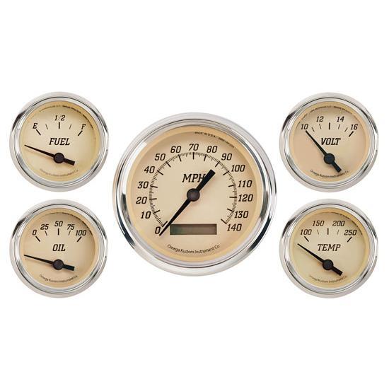 Omega Kustom 5-Gauge Set, Timeless Tan, 3-3/8, Electric on egt gauge diagram, fuel gauge diagram, gauge parts, speakers diagram, gas gauge diagram, gas meter installation diagram,