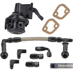 Big Block Chevy 80 GPH Mech Pump/Supply Kit, 4150 Log,-6AN, Black