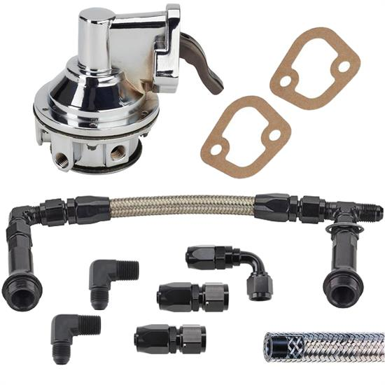 Small Block Chevy 80 GPH Mech Pump/Supply Kit,4150 Log,6AN,Chrome