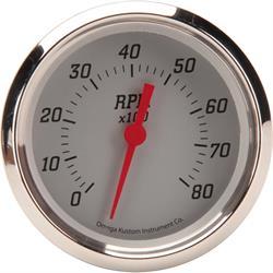 Omega Kustom 8000 RPM Tachometer Gauge, 3-3/8, Billet Silver