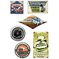 Speedway Vintage Tin Sign & Clock Set
