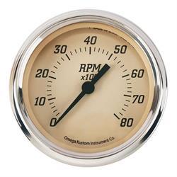 Omega Kustom 8000 RPM Tachometer Gauge, 4-3/8, Timeless Tan