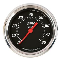 Omega Kustom 8000 RPM Tachometer Gauge, 4-3/8, Black Top