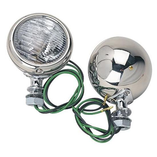 Speedway 1932 Ford Stainless Steel 12 Volt Cowl Lights, 3-1/2 Inch
