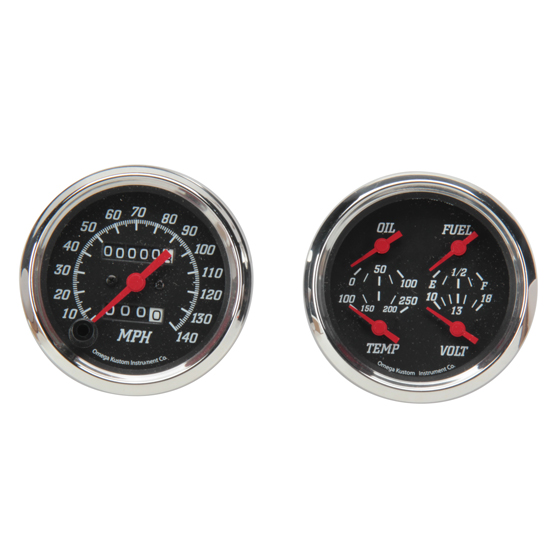 Omega Kustom Quad Gauge Set, Black Top, 3-3/8, Mechanical