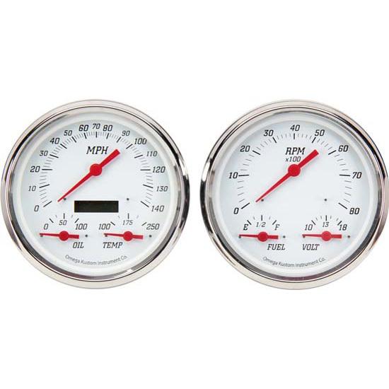 omega kustom 3 n 1 gauge set, kool white, 4 3 8, electric Automotive Dash Gauges