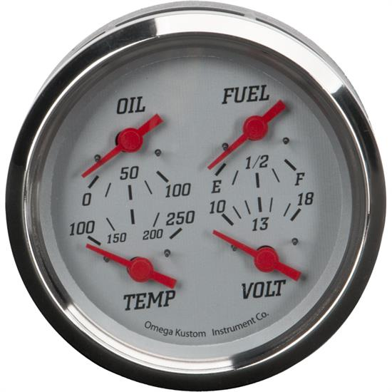 "4"" 4-in-1 Gauge with Fuel, Oil, Temp and Volt, Silver"