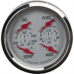 """4"""" 4-in-1 Gauge with Fuel, Oil, Temp and Volt, Silver"""
